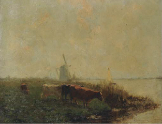 Cows in a polder landscape