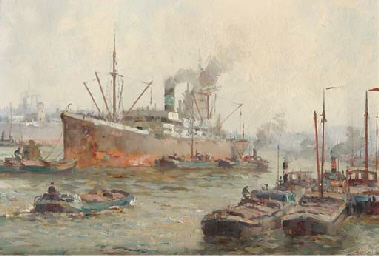 A cargoship in the harbour, Ro