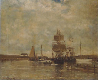 Sailingships in a harbour, Bri