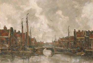 View of a Dutch harbour