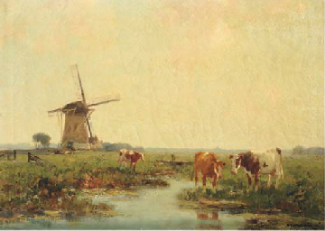 Watering cows by a windmill