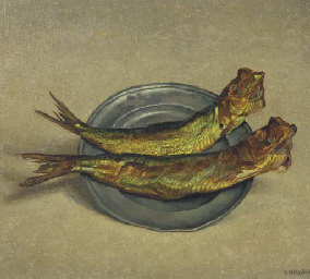 Red herring on a pewter plate