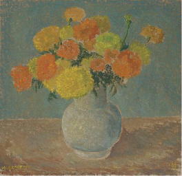 A still life with yellow and o