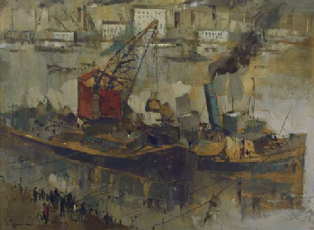 Ships in a harbour