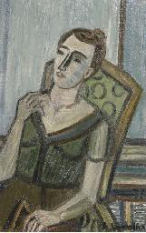 Woman wearing a green blouse