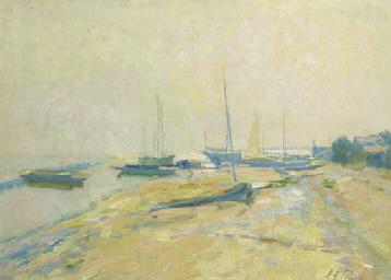 Sailing boats on a river-bank
