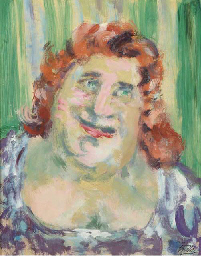 Portrait of a woman with red h