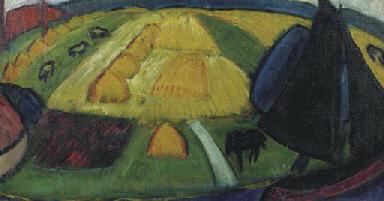 Landscape with haystacks, a sa
