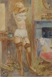 A girl undressing in the artis