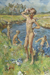 Boys playing in the river Aa