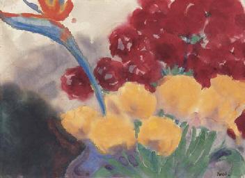 Blumenstilleben mit Paradiesvo