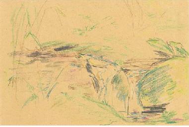 Landschaft mit Häuschen (recto