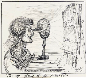 The eye glass of the painter