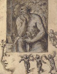 A hermit contemplating a cruci