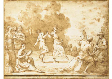 Peasants dancing in a landscap
