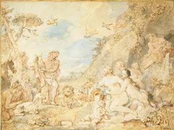 Orpheus charming the animals a