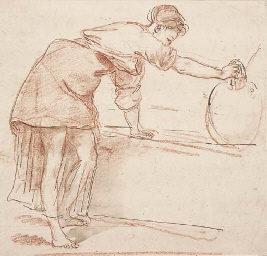 A woman filling a water jar at