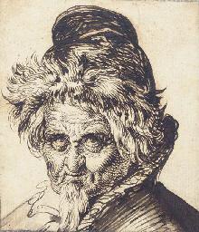 Head of a bearded man wearing