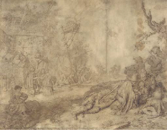 A village scene with peasants