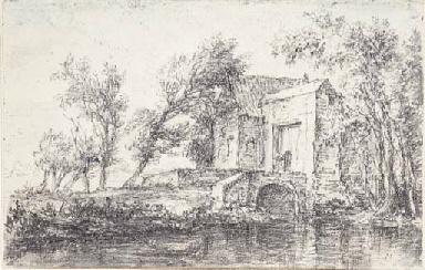 A landscape with a farmhouse b