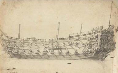 An English ship of 54 guns, po