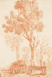 A landscape with a carriage by