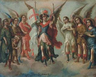 Saint Michel triomphant, entou