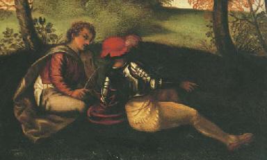 Soldat et musicien assis dans
