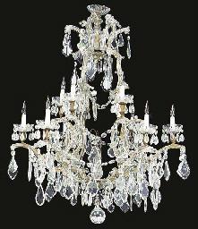 A glass twelve light chandelie