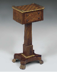 A WALNUT AND GILT METAL MOUNTE