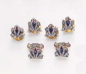 A DIAMOND, RUBY AND ENAMEL DRE