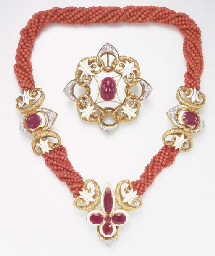 **A SUITE OF CORAL, DIAMOND, R
