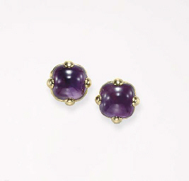 A PAIR OF AMETHYST AND GOLD EA