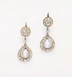 AN ANTIQUE PAIR OF DIAMOND AND