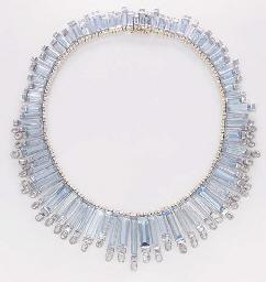 A BLUE TOPAZ AND DIAMOND NECKL