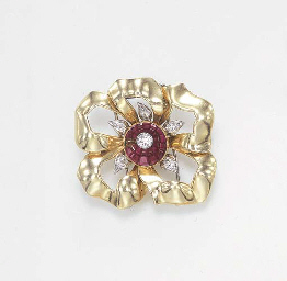 A RETRO RUBY AND DIAMOND FLOWE