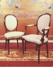(2)  A Dutch mahogany fauteuil