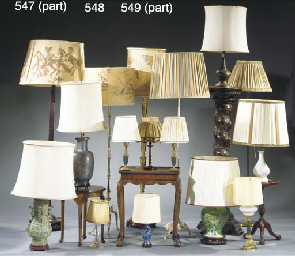 (5) A cut glass table lamp