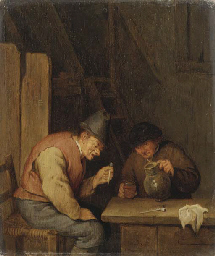 Two peasants smoking and drink
