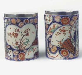 (4) A pair of Delft doré 'Imar