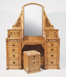 AN INLAID WOOD DRESSING TABLE