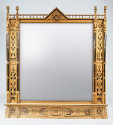 A LARGE WOOD OVERMANTEL MIRROR