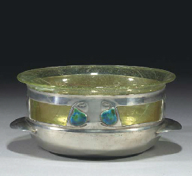 A Tudric Pewter and Enamel Ros