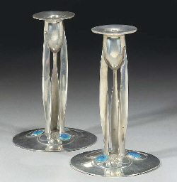 A Pair of Tudric Pewter and En