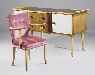 A BIRCH AND LEATHER DINING SUI