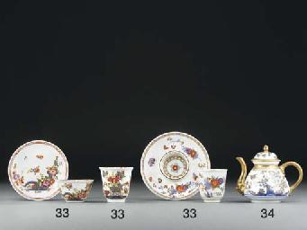 A Meissen Imari teabowl and sa
