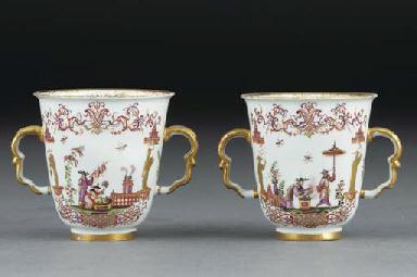 A pair of Meissen Hausmalerei