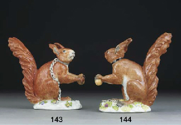 A Meissen model of a red squir