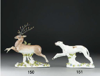 A Meissen model of a leaping g