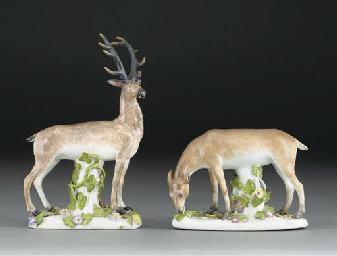 Two Meissen models of deer
